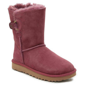 UGG NASH SUEDE SHEARLING BUCKLE BOOTS NEW BURGUNDY